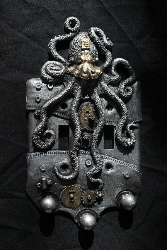 Steampunk Octopus double switch plate. Wall art, sculpture, wall decor, home decor, housewares. - http://centophobe.com/steampunk-octopus-double-switch-plate-wall-art-sculpture-wall-decor-home-decor-housewares/ -