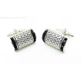 Black Jet Arched Cufflinks - Arched Rectangle with feature black jet crystals down each side.  The central panel is highly reflective but is not crystal.