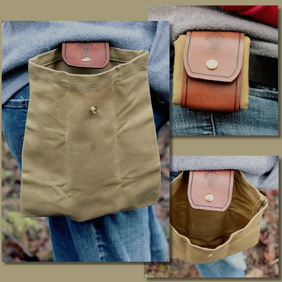 Leather and Oil Cloth Bushcraft Forager Pouch Bag by PNWBushcraft