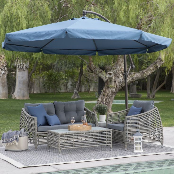 Perfect Steel Offset Patio Umbrella With Detachable Netting   Now You Can Enjoy  Refreshing Shade And Protection From Pests, Too! The Coral Coast 11 Ft. Great Ideas