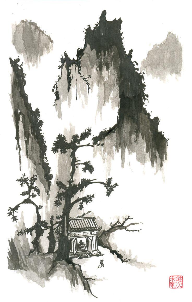 海傷 - Umikizu!: Sumie (墨絵) Pintura japonesa monocromática