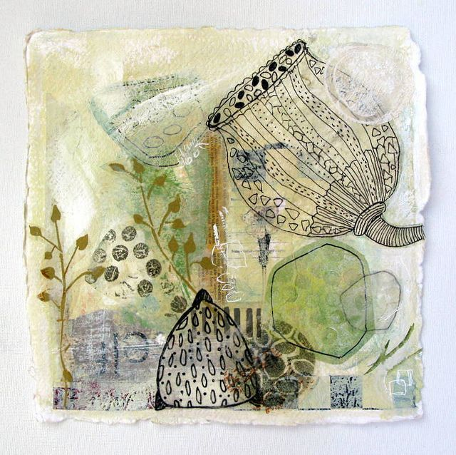 Petit Dessin 6 ~ by Françoise Barnes / franswazz~ Mixed Media collage on khadi…