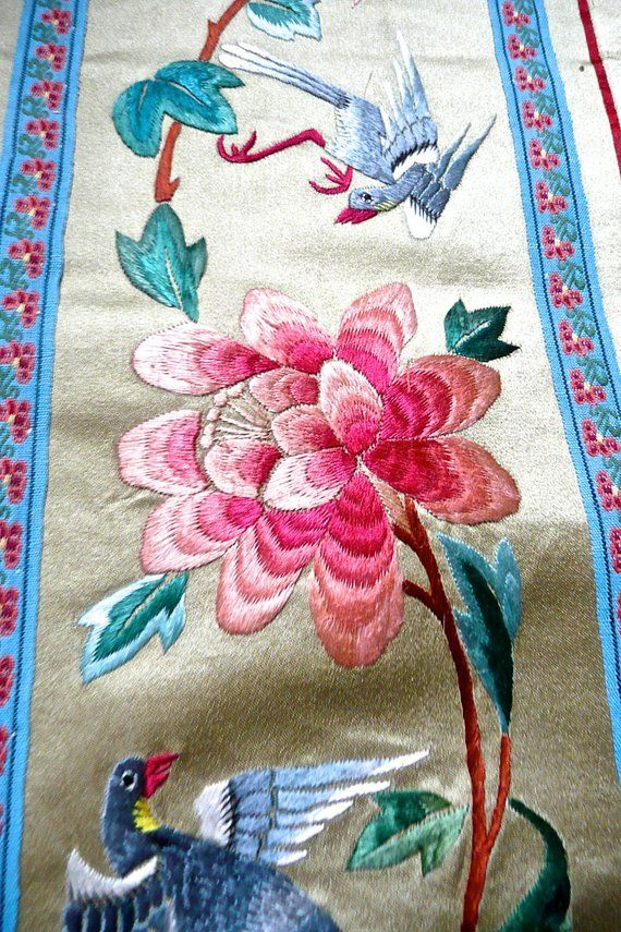 66ad143f7e Antique Chinese Silk Embroidery - Wall Hanging - Hand Embroidered Textile -  Rich Silk Panel - Orien