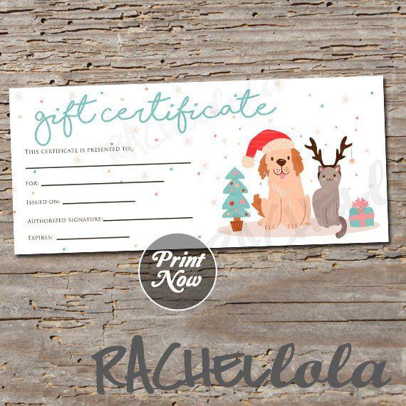 Christmas Pet Printable Gift Certificate Template Dog Cat Groomer Thank You Gi Printable Gift Certificate Gift Certificate Template Christmas Gifts For Pets