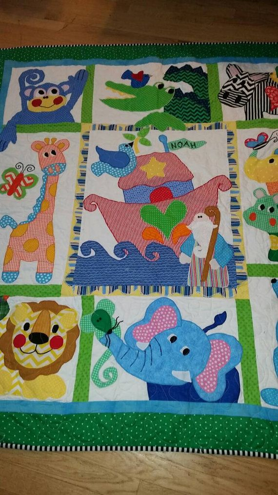 Handmade Noahs Arc Crib Quilt Jungle Crib Quilt by QuiltsForU2