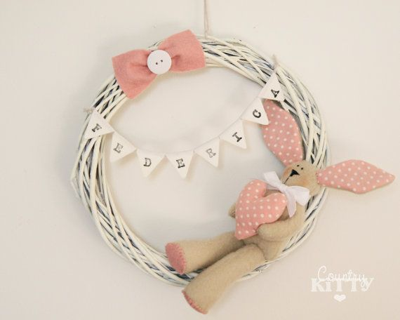 Rustic styled personalised wreath with bunny toy, love the simplicity and clean lines of this.