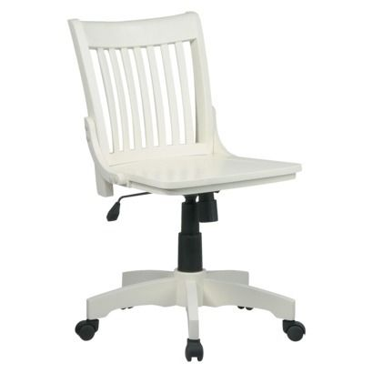 Armless Wood Banker's Chair - Antique White. If I did go the rolling chair route...