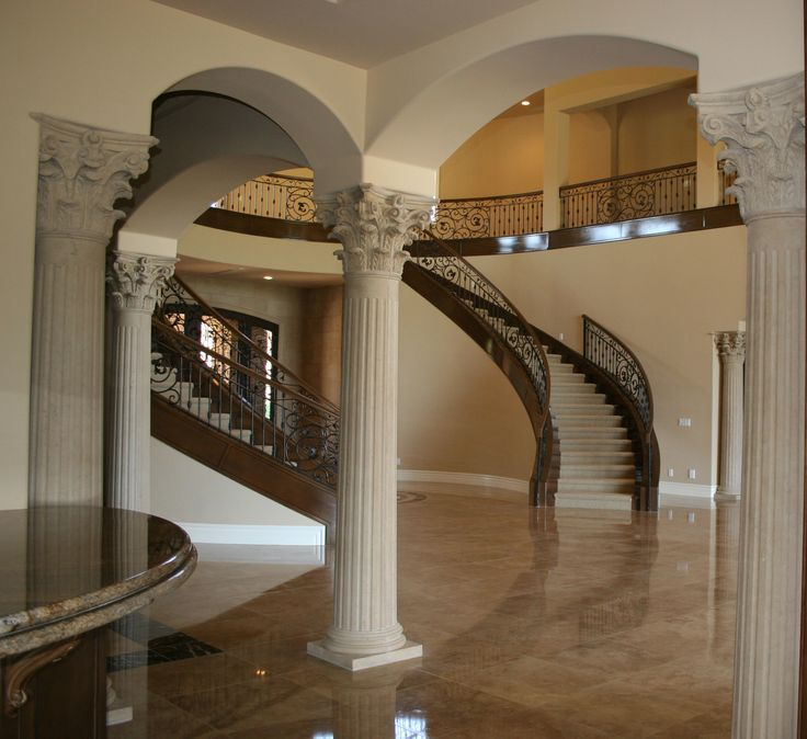 House Interior Column Designs Stairs Pinned By