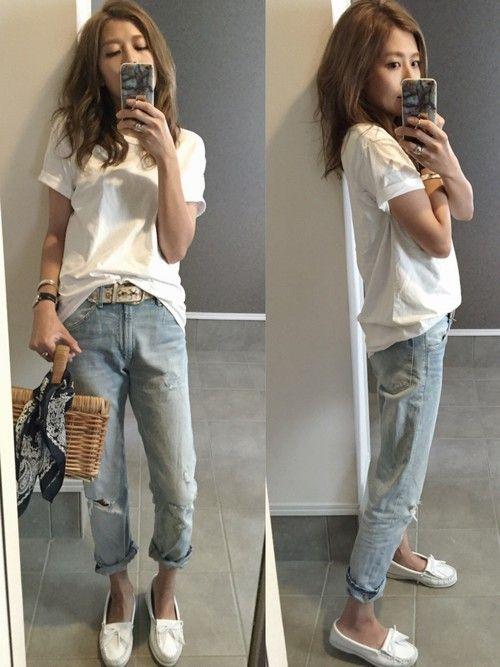 SHIPSのTシャツ/カットソー「Hanes×SHIPS AUTHENTIC PRODUCTS(ヘインズ×シップス・オーセンティック・プロダクツ): 2パック/Tシャツ Japan Fit■」を使ったsayakaのコーディネートです。WEARはモデル・俳優・ショップスタッフなどの着こなしをチェックできるファッションコーディネートサイトです。