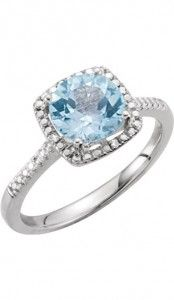 2. Sterling Silver Sky Blue Topaz and O.1 CTW Diamond Ring