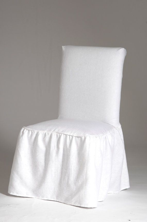 Elegant Linen Ruffled Dining Chair Cover With Bow Tie At
