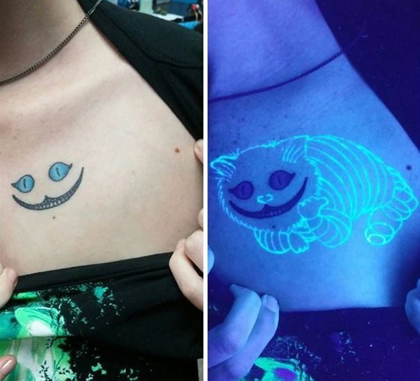 Cheshire Cat Tattoo Where A Full Cat Appears Under Black Light