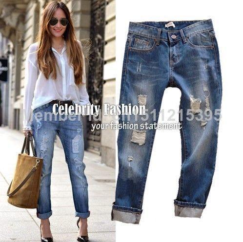 Nouveau mode femme jeans taille basse 2014 celebrity style roulé déchirés