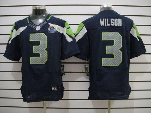 new seahawks 3 russell wilson blue with hall of fame 50th patch nfl elite jersey