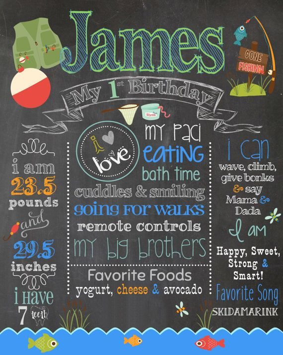 Best 25 first birthday chalkboard ideas on pinterest for First birthday fishing theme