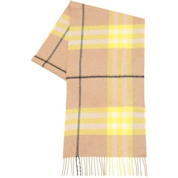 Burberry Women Neon Giant Check Cashmere Scarf (10,595 MXN) ❤ liked on Polyvore featuring accessories, scarves, yellow, yellow scarves, neon scarves, burberry, cashmere scarves and checkered scarves