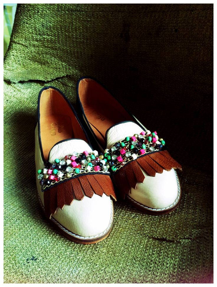 Loafers Miki&Vhoya Chilli Beans #miki&choya #loafers #leathershoes #nude #beads #sparkle