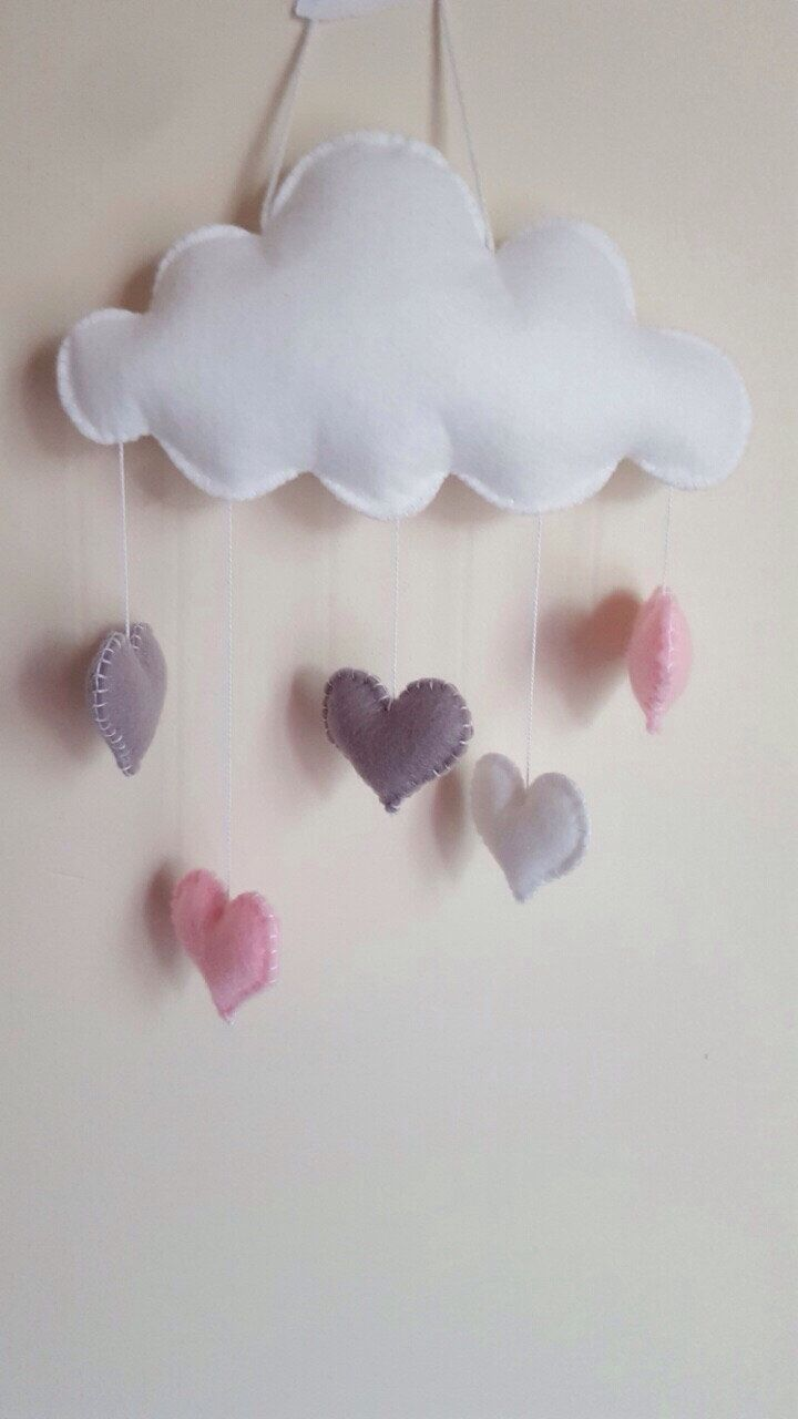 best  cloud mobile ideas on pinterest  felt mobile mobile  - baby mobile baby girl mobile pink heart mobile cloud baby mobile heartcloud baby nursery mobile grey pink white