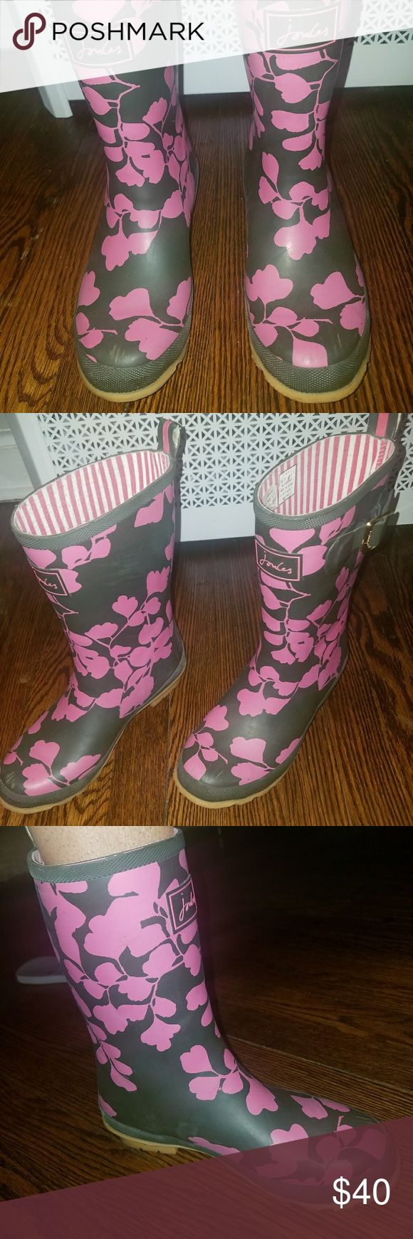RAIN BOOTS Black and Pink Rain Boots Shoes Winter & Rain Boots