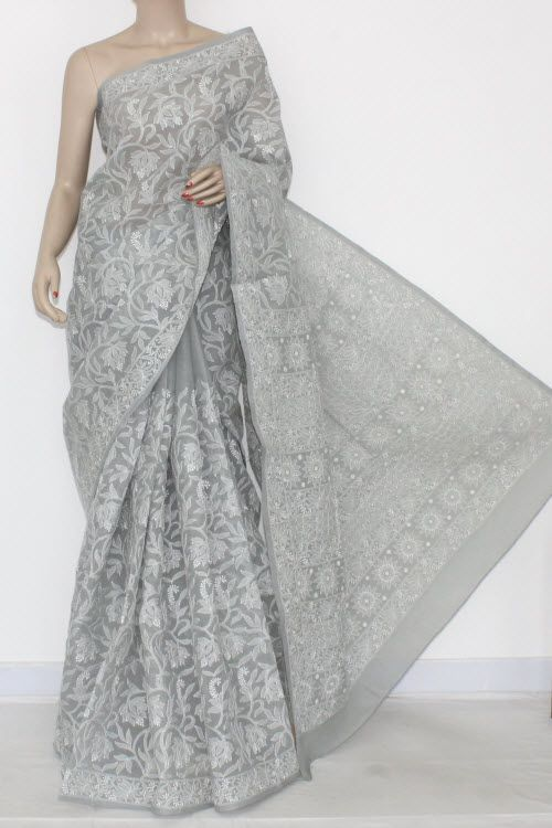 Grey Allover Hand Embroidered Lucknowi Chikankari Saree (With Blouse - Cotton) 1... 7