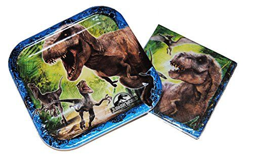 Square Jurassic Park Dessert Plates and Napkins Plus a Balloon @ niftywarehouse.com #NiftyWarehouse #JurassicPark #Jurassic #Dinosaurs #Film #Dinosaur #Movies