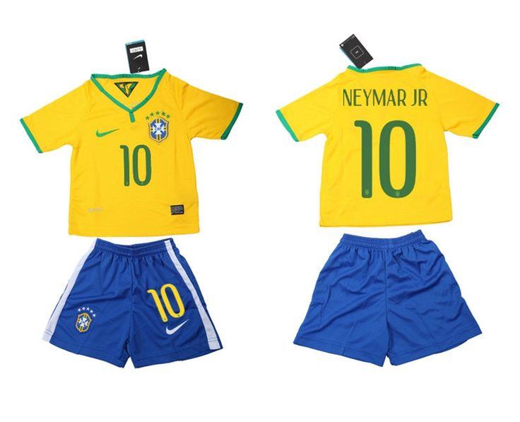 Brasile Maglie Calcio Mondiali 2014 Bambini Set Casa NO.10 Neymar JR