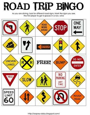 road trip bingo... not only useful for kiddos... but even a girls trip :) they should add a deer crossing sign huh @Carrie Gardner@Danielle L'Ecuyer@Alicia Lamb@Rachel Willis