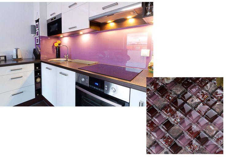 Revestimiento en acr lico o vidrio templado en color lila - Vidrio templado cocina ...