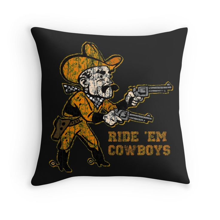 Pistol Pete Ride 'Em Cowboys Throw Pillows