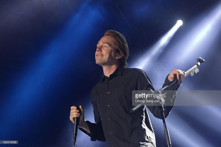 Jonas Bjerre of MEW performs onstage during the day three of the Incheon Pentaport Rock Festival on August 9, 2015 in Incheon, South Korea. - http://www.gettyimages.com/detail/news-photo/johan-wohlert-and-silas-utke-graae-jorgensen-of-mew-perform-news-photo/483478348