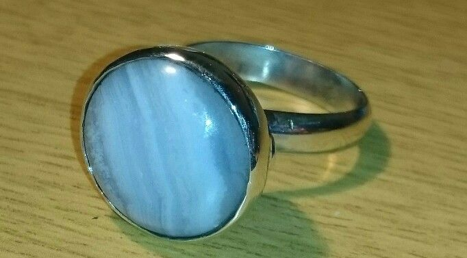 Sterling silver ring with blue lace agate gemstone.