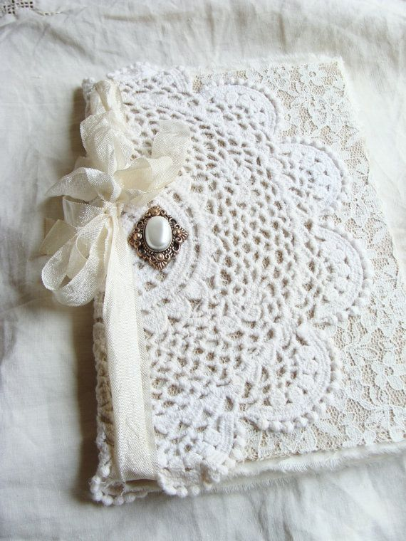 Vintage Doily and Lace Journal Diary Notebook Altered Wedding Memory Book Guestbook Giftbook Mother Bride Bridesmaid Baby Gratitude Prayer