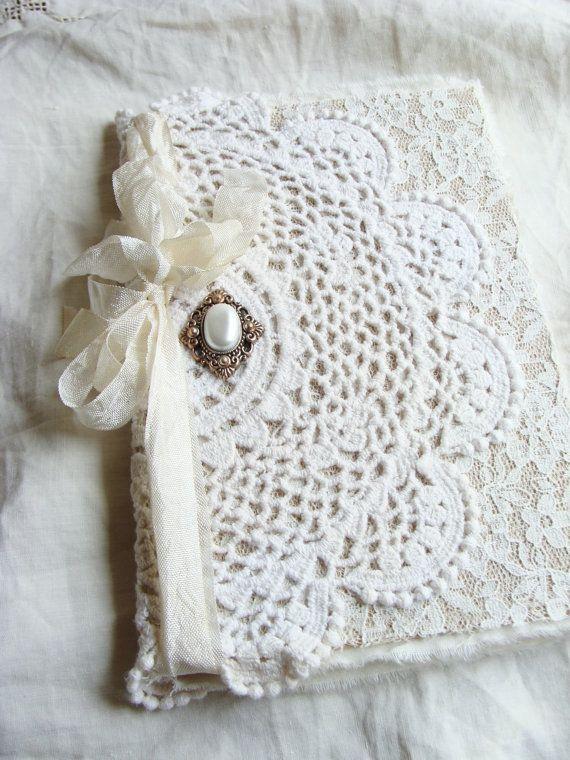 Jahrgang Deckchen und Lace Journal Tagebuch Notizbuch verändert Hochzeit Memory Book Guestbook Fantasy Mutter Braut Brautjungfer Baby Dankbarkeit Gebet