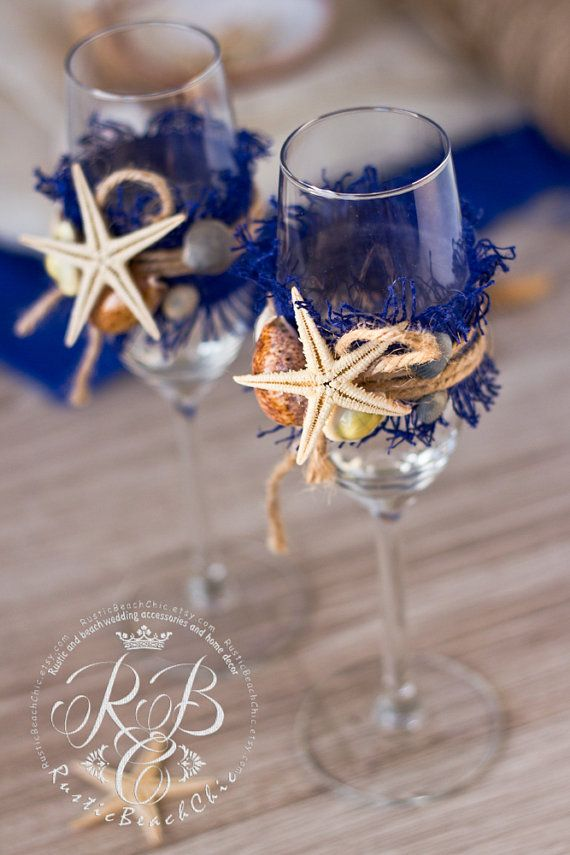 Nautical BEACH Wedding champagne glasses with от RusticBeachChic