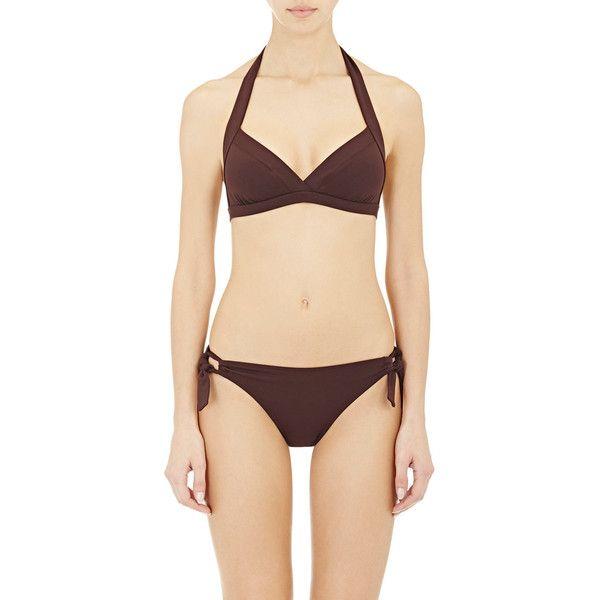Eres Vedette Halter Bikini Top (6010 NIO) ❤ liked on Polyvore featuring swimwear, bikinis, bikini tops, brown, triangle bikini, microfiber bikini, tankini tops, halter tankini top and swim tops
