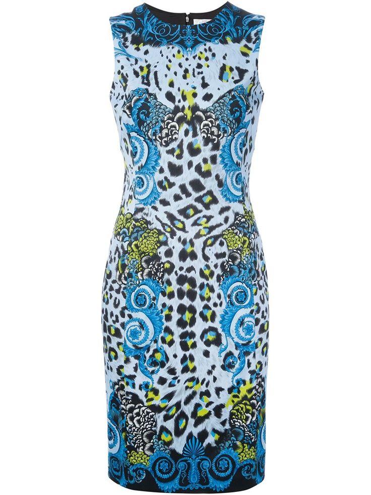 Versace Leopard Print Dress In Multicolor Multicolour