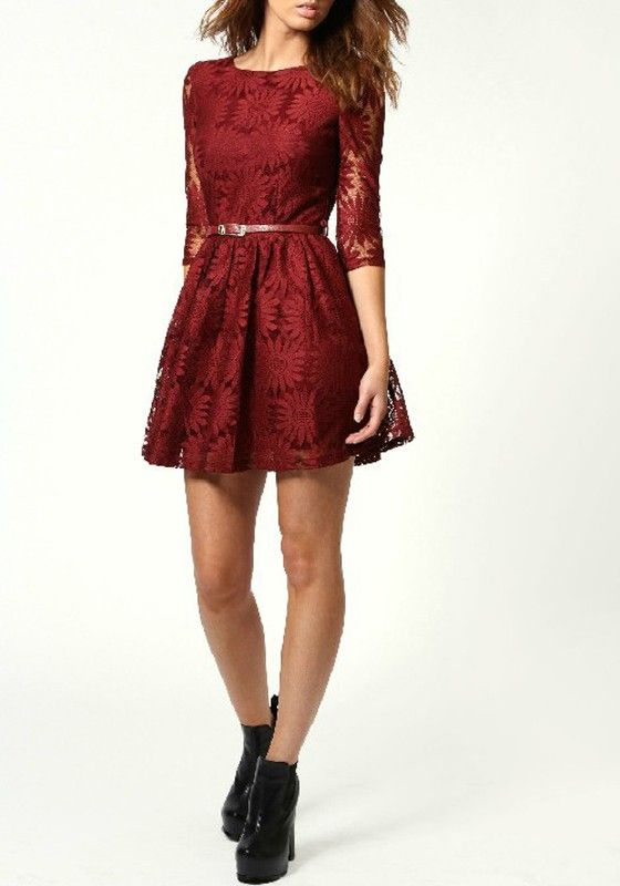 Wine Red Sunflower Zipper Above Knee Lace Dress