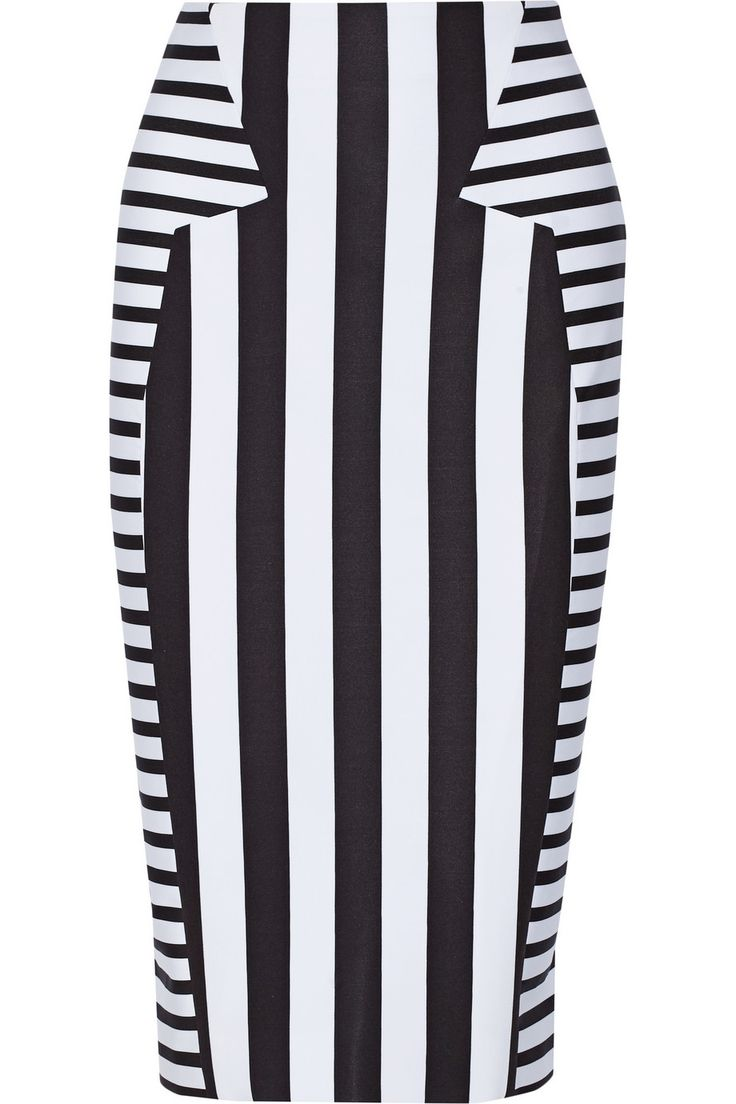 Cushnie et Ochs   Striped stretch-neoprene pencil skirt   NET-A-PORTER.COM