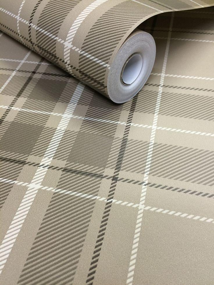Fine Decor Caledonia Tartan Wallpaper - Taupe FD21226