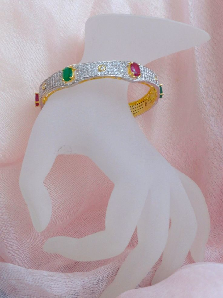 Wedding or Anniversary bracelet bangle from India. White Diamond like – Artikrti