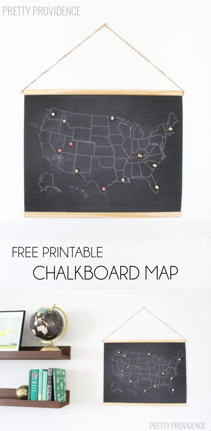Super fun and FREE printable chalkboard map