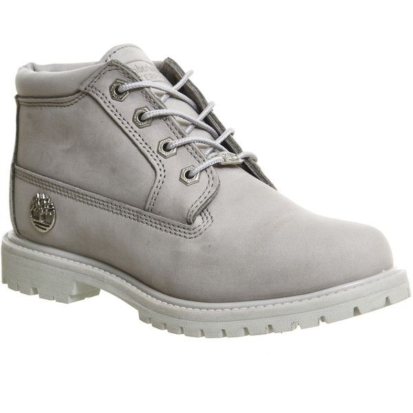 Timberland Nellie Chukka Double Waterproof Boots (600 ILS) ❤ liked on Polyvore featuring shoes, boots, ankle booties, ankle boots, windchime grey nubuck, women, gray booties, lace up bootie, timberland boots and gray boots