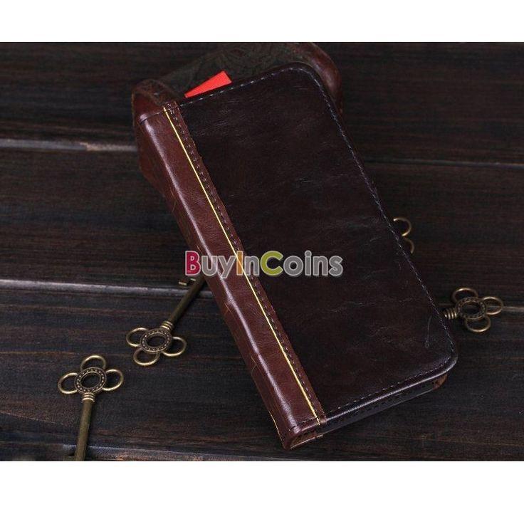 Women Man Corium Book Leather Flip Wallet Stand Case For Samsung S3 S4 S5 Gift