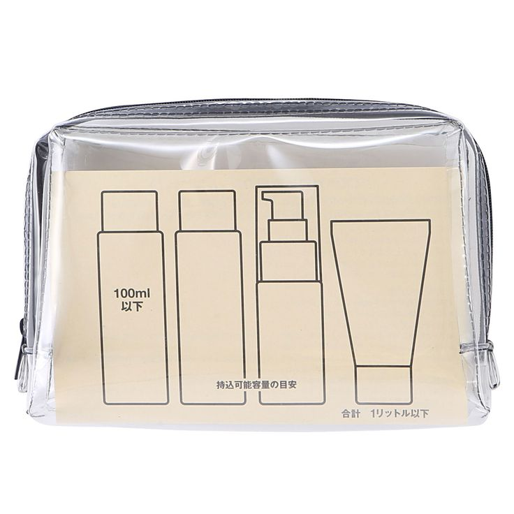 Inexpensive toiletry bag from Muji. I use these bags for the liquids in my carryon just in case I have to take them out.