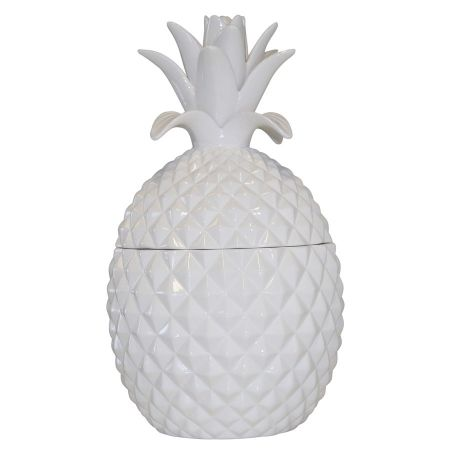 White ceramic pineapple jar. Shop here www.hardtofind.com.au. Christmas in #htfstyle