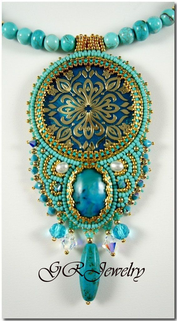 Turquoise and Gold by LiaReed on Etsy, $160.00