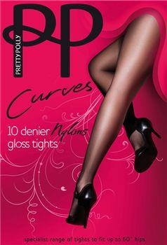 Pretty Polly Curves nylons AAP6 10 denier gloss  panty. Hebben we in de maten 46 t/m 60.