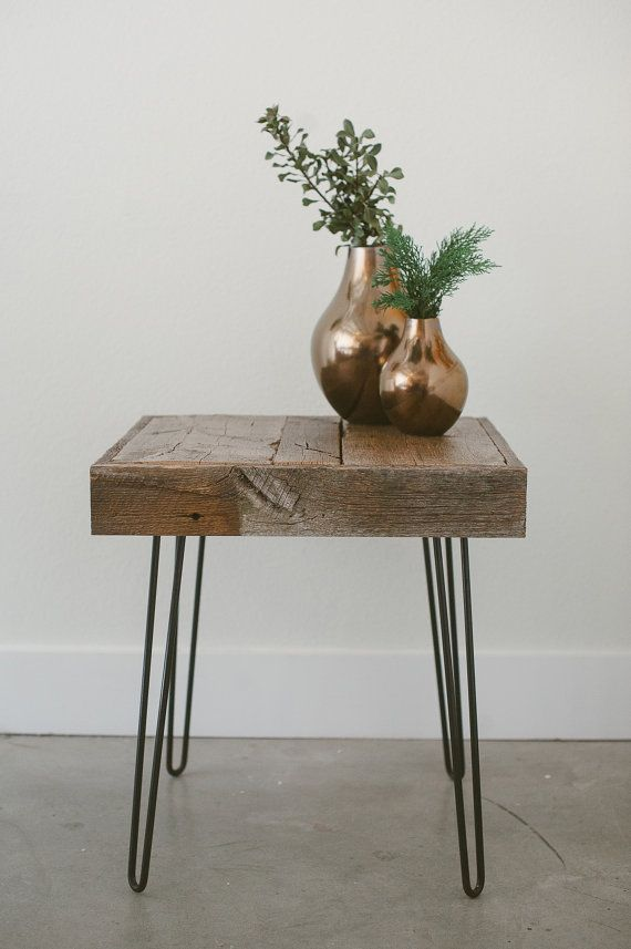 This table was hand crafted out of reclaimed wood from a barn in Montana, and the hairpin legs came from a local welder in San Diego, CA.    DIMENSIONS: