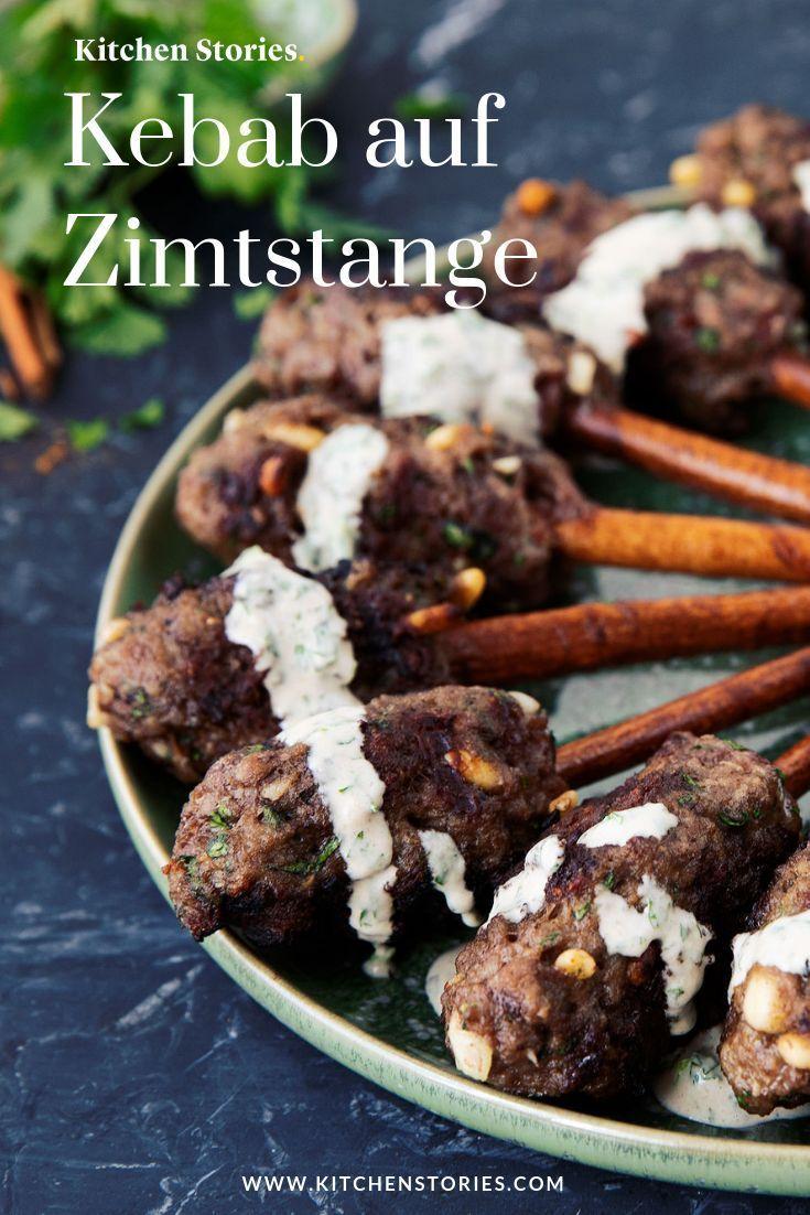 Kebab Auf Zimtstange Mit Gruner Tahina Rezept In 2020 Israelische Rezepte Rezepte Und Lecker