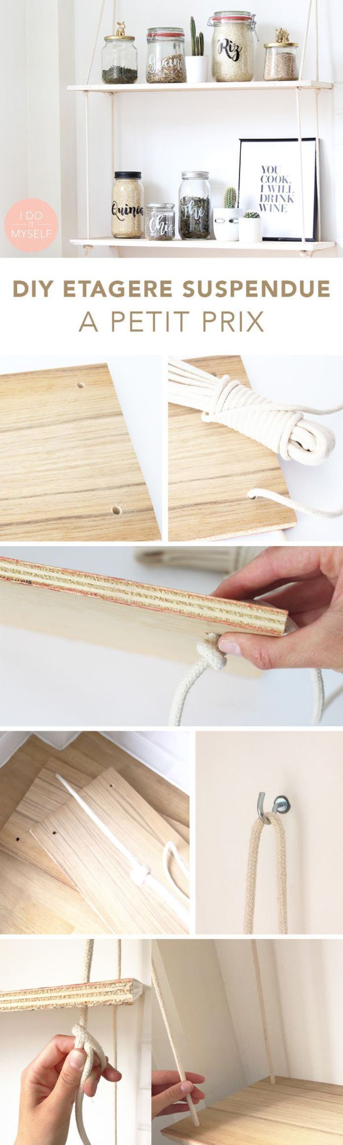 DIY Shelves Ideas : ETAGERE SUSPENDUE FACILE ET PAS CHER! Suivez le tutoriel pour réaliser cette jo